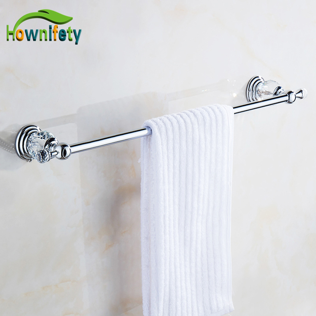 Solid Br Bathroom Towel Rack Single Bar Accessories With Crystal