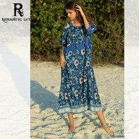 Boho Chiffon Printed Dress Women Half Sleeve O Neck Loose Maxi Dresses Casual Beach Long Dress Plus Size