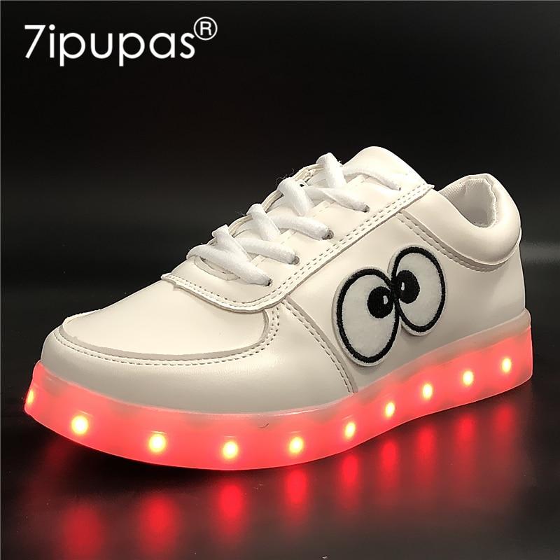 7ipupas EUR 30-44 Boy Girl Charger Led Light Shoe For Children Big eyes Kids Luminous Sneaker New Spring Breathable Sports Shoes