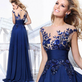 Robe de soiree 2017 O-Neck chiffon blue princess off shoulder lace A-line embroider evening dress party dresses prom dresses