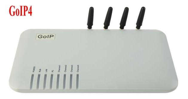 Passerelle VoIP GOIP4 GSM (IMEI modifiable, 4 cartes SIM, SIP & H.323, VPN PPTP) SMS/pour IP PBX