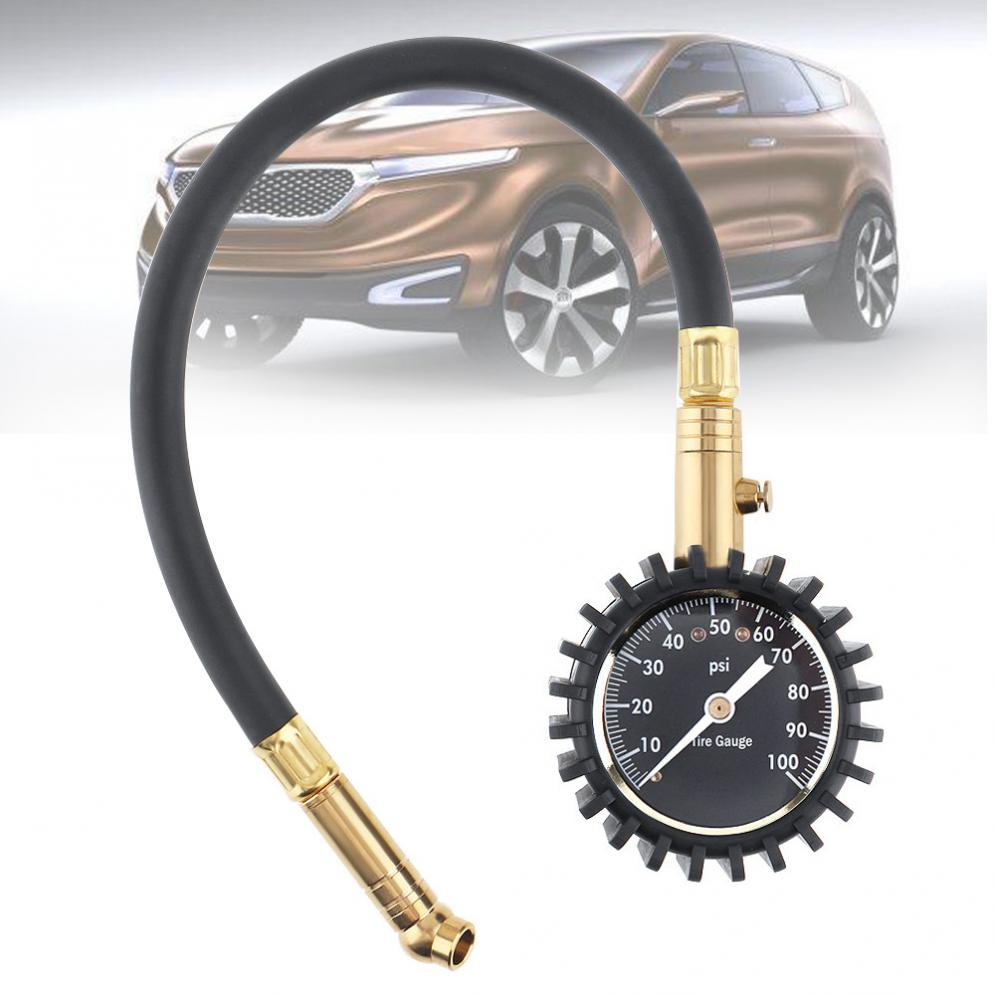 ABS+Metal 100PSI  Precision Pointer-style Car Tire Pressure Gauge  With Lengthening Hose And Short Pressure Measuring Valve