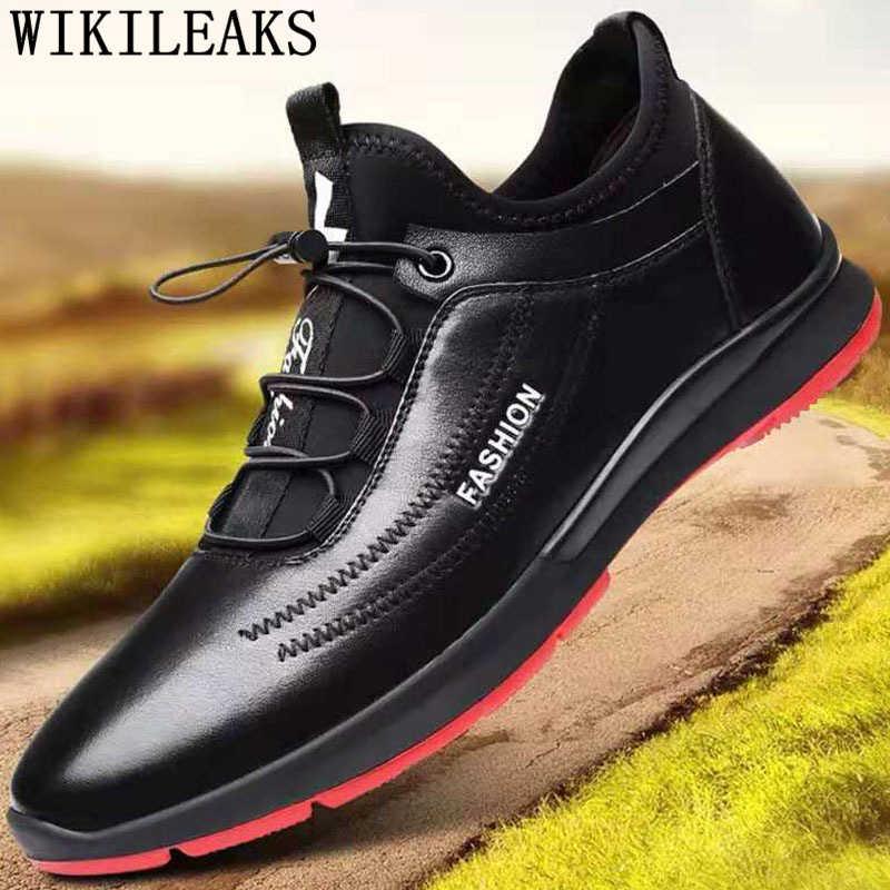 Zapatos de diseñador para Hombre Zapatos casuales de cuero negro zapatillas de invierno zapatillas de deporte para hombre 2019 zapatillas de cuero para hombre marca de felpa corta