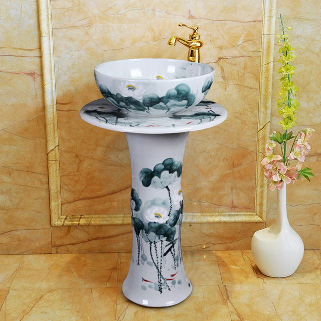 Art Integrated Pedestal Basin Small Apartment Pedestal Type Washbasin  Trumpet Vertical Floor Type Ceramic Washbasin Lotus