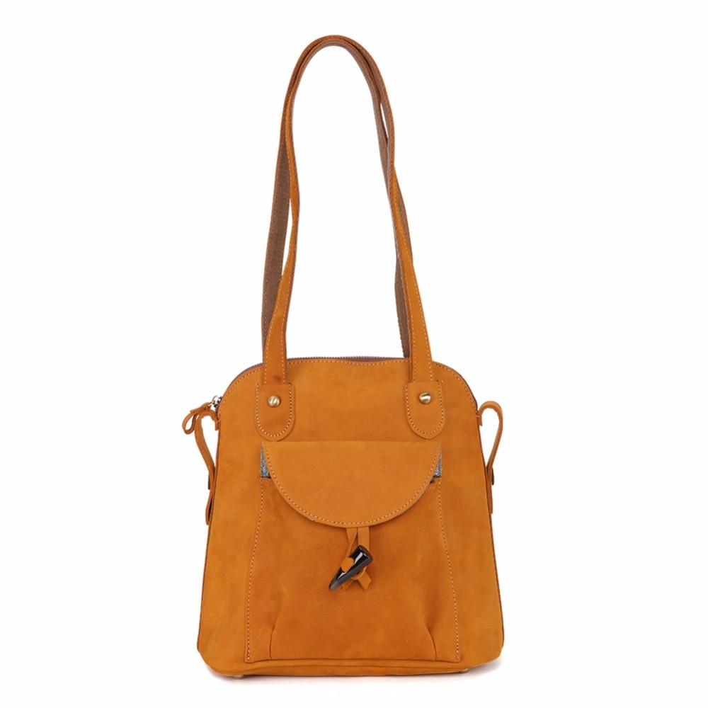 JOYIR di Modo Del Cuoio Genuino delle donne zaino dell'annata marrone della ragazza della scuola del sacchetto di spalla zaini signore di shopping borse da viaggio 3011 - 3