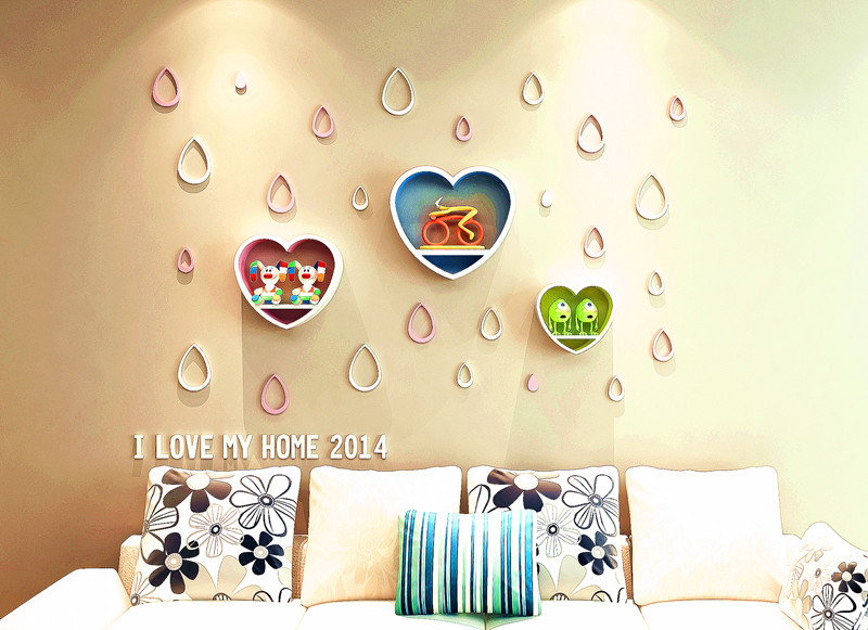 New Hot Loving Home Decorative Wood Wall Hanging Shelf Heart Shaped ...
