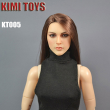 Custom 1/6 Scale Head Sculpt For Hot Toys Body KT005 Brown Long Hair for 12 Inch Phicen Figure beauty Sideshow TTL Doll Toys one stand 1 6 figure body metal y display stand for 12 inch action figure headplay ttl hot toys soldier and doll shows