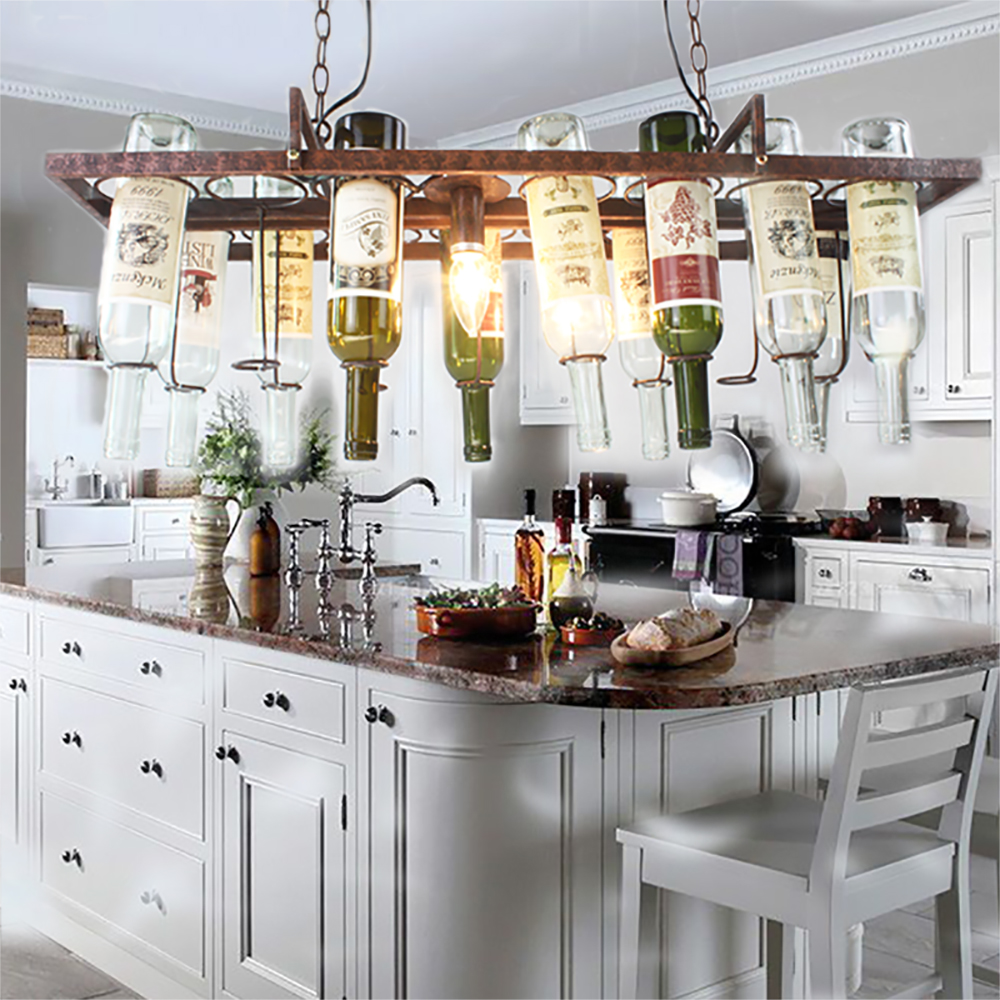 Inexpensive kitchen lighting diy light fixtures for the for Wine decor for kitchen cheap