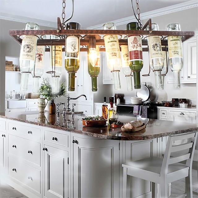 DIY Vintage retro Opknoping Wijnfles plafond Hanger Lampen LED licht ...