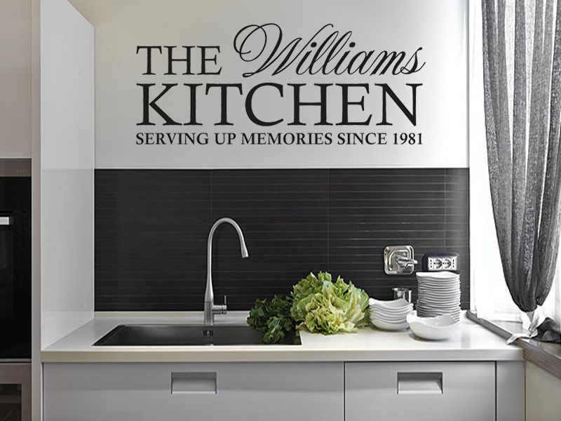 Custom Name Family Kitchen Wall Decals Wall Stickers Home Decor - Custom vinyl wall decals for kitchen backsplash