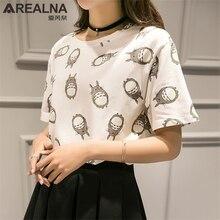 New Summer Anime Totoro 3D Printed Loose Pure Cotton O-neck T Shirt Women Kawaii Cartoon Tie-dye Short Sleeve Tee tops femme