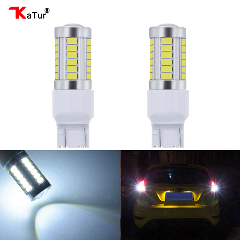 Katur 2Pcs <font><b>W21</b></font>/<font><b>5w</b></font> W21w T20 led Wy21w <font><b>W21</b></font> <font><b>5w</b></font> Reverse Backup DRL Car Turn Signal Light White Yellow Amber Red Blue 12V 7443 image