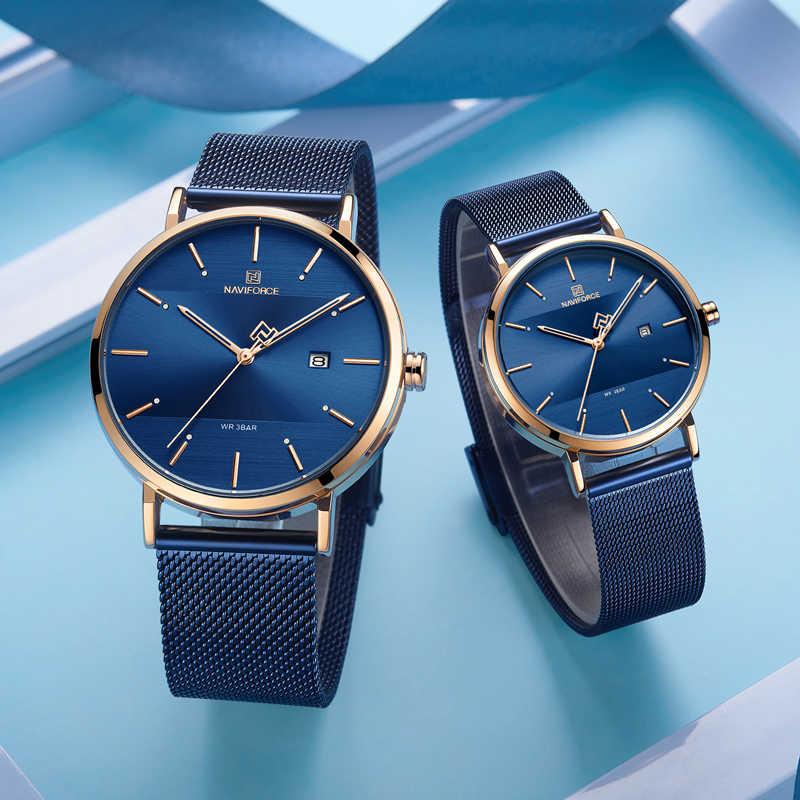 זוג שעון NAVIFORCE למעלה מותג אופנה אנלוגי קוורץ שעונים לגברים ונשים יוקרה אוהבי שעוני יד מתנות לתת לאוהבים