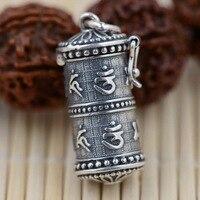 charming S925 Sterling Silver Pendant gawu box wholesale antique Buddhist Shurangama mantra six words