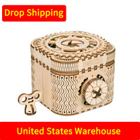 For Drop Shipping in United States 3D Wooden Puzzle Storage Treasure Box Assembly Model Building Kit Toys for Children LK502