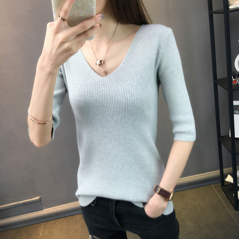 LHZSYY 2019Summer Women New Solid Color Knit Short Sleeve T-Shirt V-neck Top Shirt Bottoming Wild Slim Thin Section