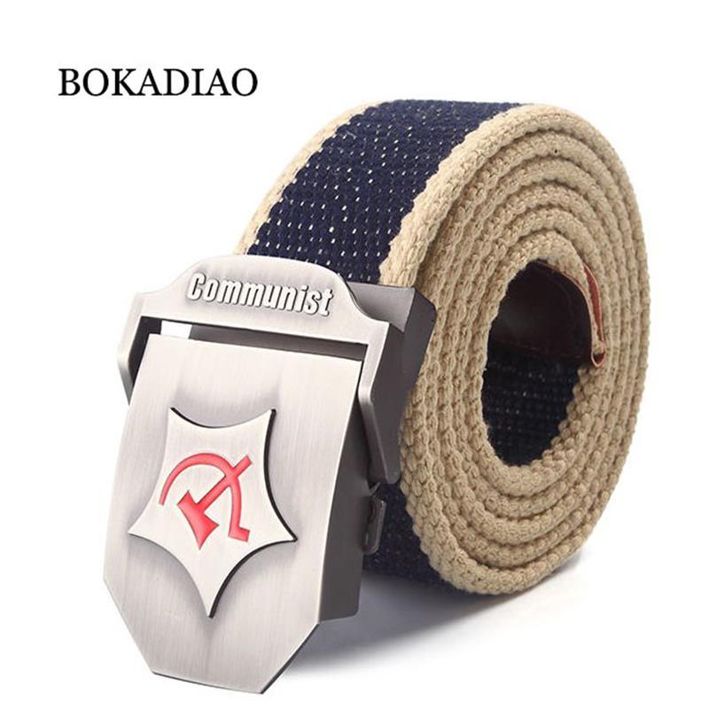 BOKADIAO Men&Women Military Canvas   belt   luxury CCCP Communist Red Metal buckle jeans   belt   Army tactical   belts   for Men strap male