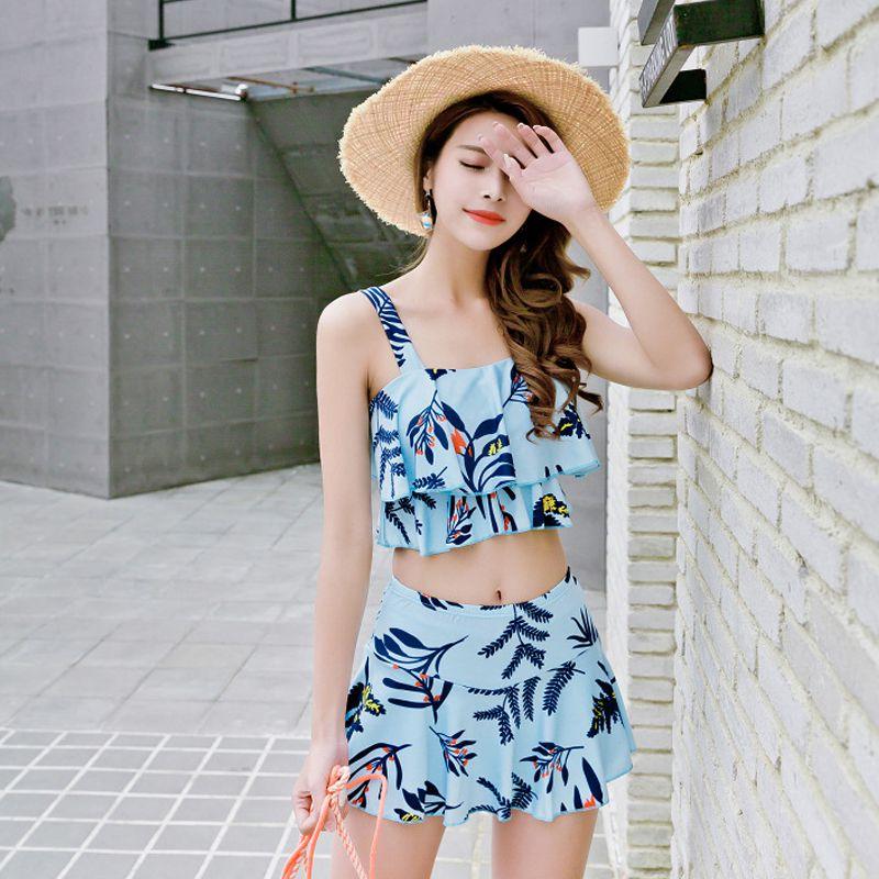 1 Set Sexy Swimwear Women Plant Pattern Boxer Vintage Ruffled Swimsuit High Waist Shoulder Bikini