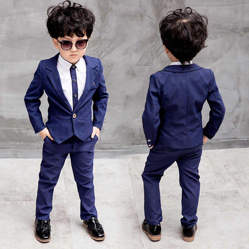 b5c4cd5d6 2018 otoño moda Caballero niños ropa set Niños traje formal Niños Trajes  para bodas azul marino