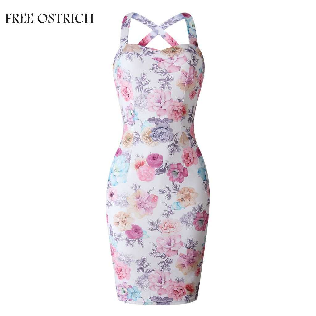 Sexy Floral Printing Sleeveless O-Neck Dress Women Summer Evening Party And Club Plus Size Beach Dress