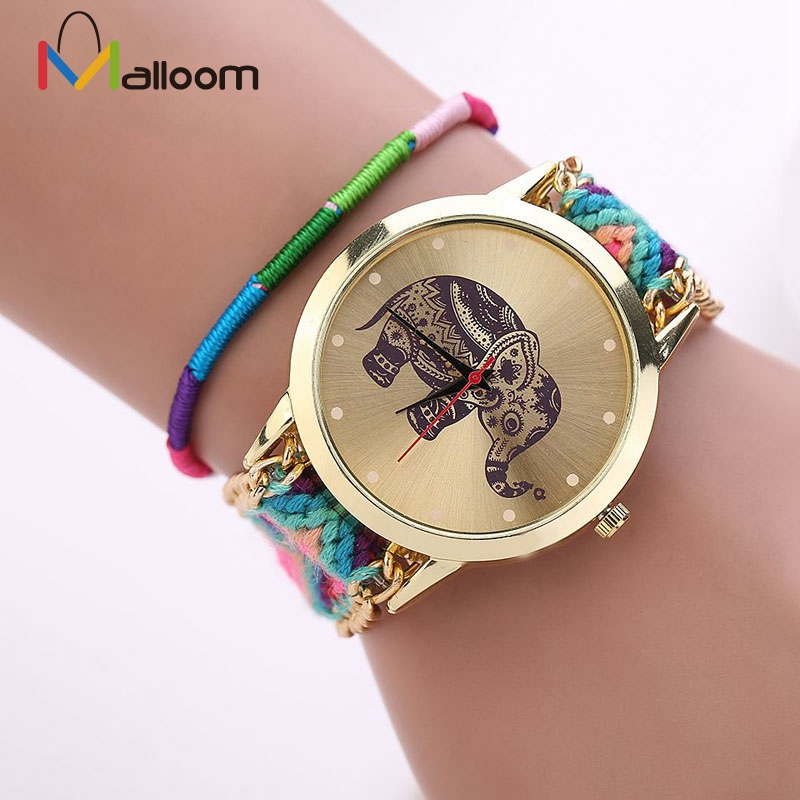 Watch Women Watches Reloj Mujer Braided Elephant watch Bracelet Clock 8 Colors Girl Handmade Weaved watches peace dove tree braided bracelet
