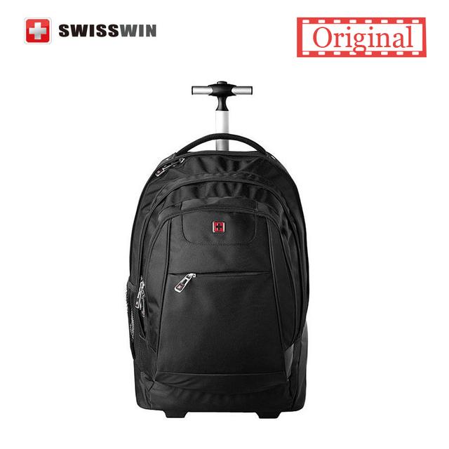 Swisswin Negro Mochila Portátil Rodante SWE1058 Ruedas de $ number pulgadas Mochila Portátil Para Viajes de Negocios