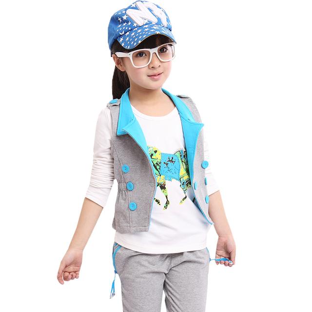 5 6 7 8 9 10 11 12 13 14 años de la muchacha embroma la ropa de manga larga de la camiseta y Chaleco y Pantalones Harem Deportes Traje Que Arropan Las Muchachas Del Niño
