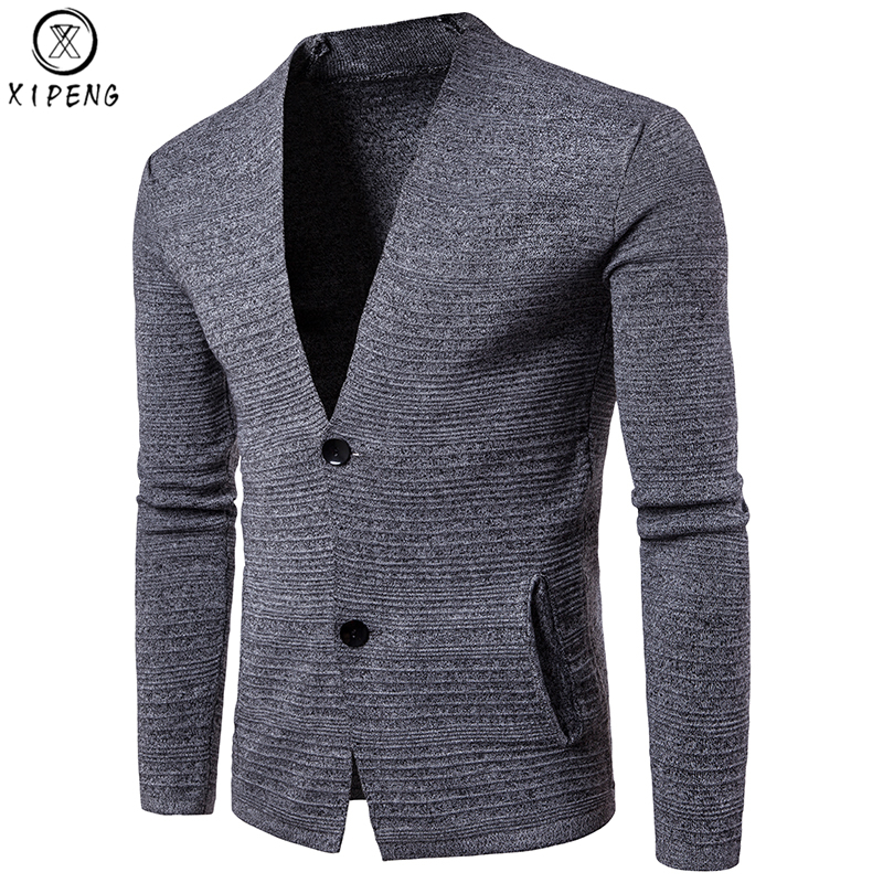 Rational Cardigan Sweater Men 2018 Brand New Single Breasted V-neck Pull Homme Casual Slim Fit Men Solid Knitwear Sweter Hombre Black Orders Are Welcome.