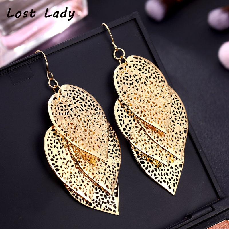 Lost Lady Vintage Leaves Drop Earrings Luxury Boho Bohemian Leaf Dangle Hollow Out For Women Fashion Jewelry