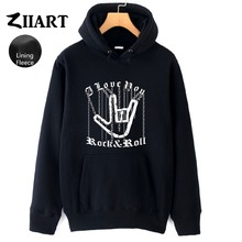 Hand Gesture Chain Heavy Metal Corna Devils Horns Sign Rock N Roll Couple Clothes Autumn Winter Fleece Man Boys Hoodies ZIIART