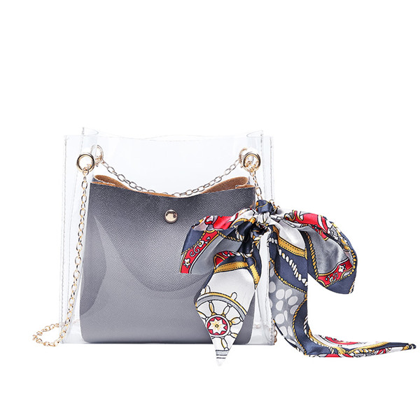 Women Transparent Jelly Bag Fashion Beach Clear Handbag Purse Clutch PVC PU Tote