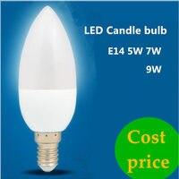 DHL 100X светодио дный свечки E14 E27 220 В 5 Вт 7 Вт 9 Вт экономии энергии прожектор chandlier кристалл лампа ампулы Bombillas домашний свет