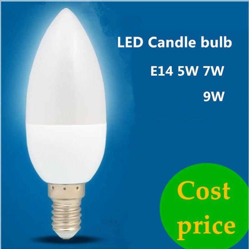DHL 100X Led bougie Ampoule E14 E27 220 V 5 W 7 W 9 W économiser de l'énergie projecteur chandlier cristal lampe Ampoule Bombillas maison lumière