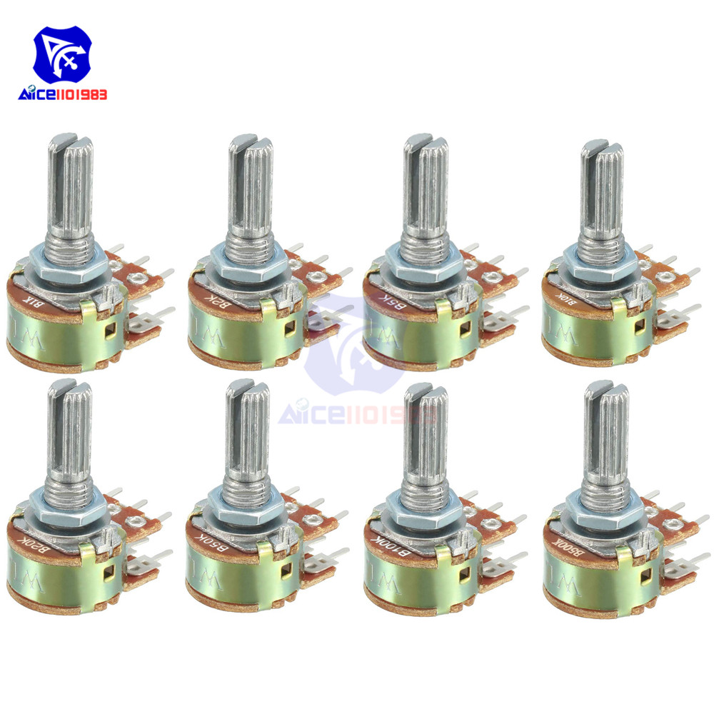 5 Pçs/lote Potenciômetro Resistor 20 10 5 2 1K K K K K K 100K 500K Ohm WH148 50 6 Pinos Linear Taper Rotary Potenciômetro para Arduino