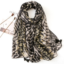 2019 Black Leopard Printing Ladies Scarf Summer and Spring High Qulity Women Fashion Shawl Luxury Brand Head Blanket Hijab