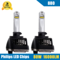 2x 80W 880 881 LED Headlight Conversion Kit High/Low Beam Bulb 16000LM 5700-6000K Auto Car HID Replacement Super Bright Headlamp