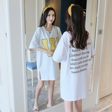 New Fashion White Letter Side Slit Soft Maternity Clothes Summer Korean Medium Long T Shirt O-Neck Casual Loose Pregnancy Tops