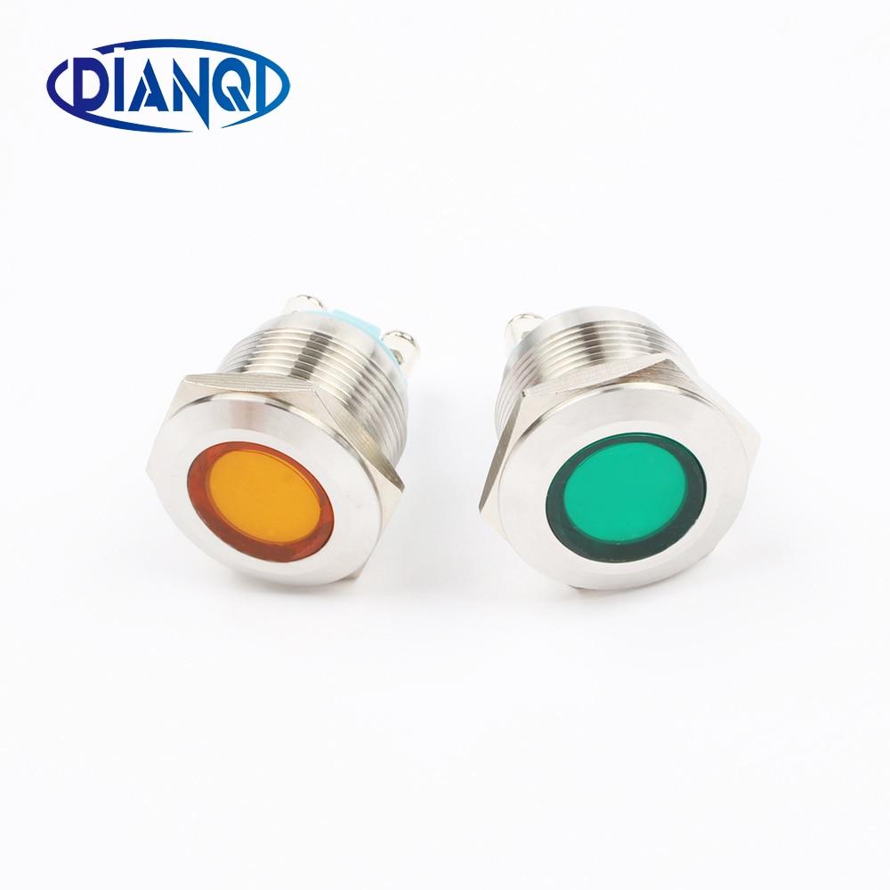 LED Metal Indicator Light 19mm Waterproof Signal Lamp LIGHT 3V 6V 12V 24V 220v Screw Connect Red Yellow Blue White 19ZSD.DM.L