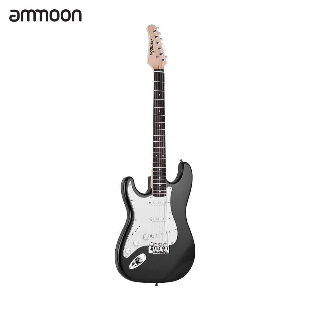 ammoon Electric Guitar Solid Wood material 21 Frets 6 String with Speaker Pitch Pipe Guitar Bag Strap Picks Left Handammoon Electric Guitar Solid Wood material 21 Frets 6 String with Speaker Pitch Pipe Guitar Bag Strap Picks Left Hand
