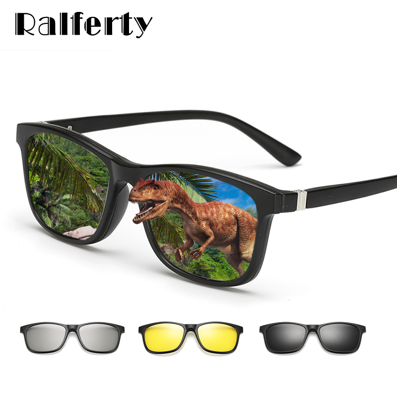 Ralferty 2018 Multi-Function Magnetic Polarized Clip On Sunglasses Men Women Ultra-Light TR90 3D Yellow Night Vision Glasses
