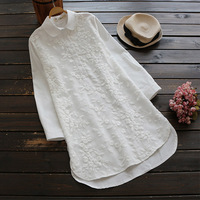 Spring Autumn Casual Sweet Shirt Women Clothing Long Style Flower Embroidery Peter Pan Collar Full Sleeved