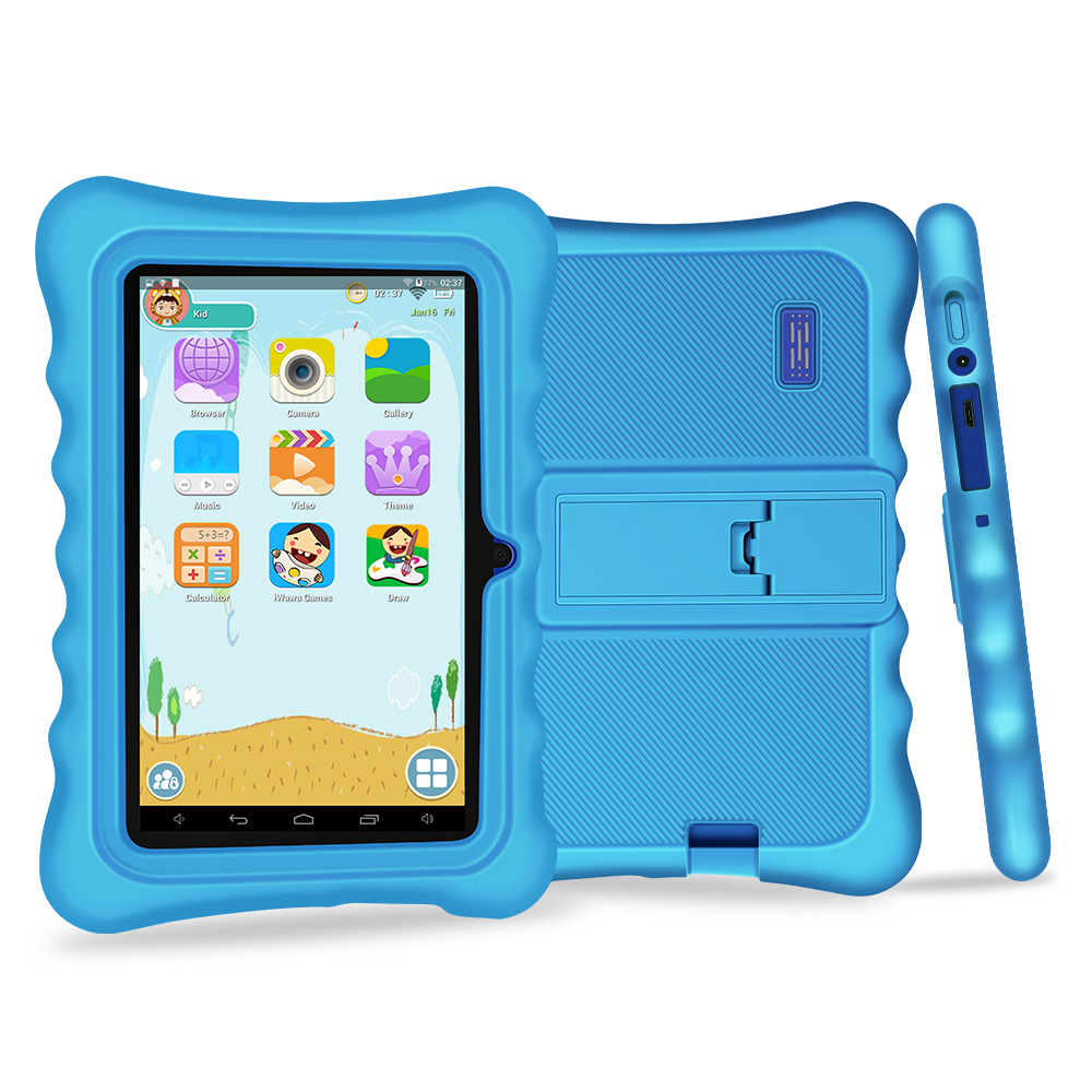 Yuntab 7 pouces Quad Core tablette PC charge Iwawa kid logiciel avec double caméra, 3D-Game bluetooth enfants tablette avec étui Chic