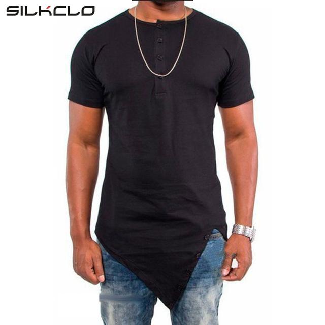 2016 Assimétrica Projetado Estilo Longo Botão de camisa de T Para Homens Moda Mangas curtas Top Tees Sólidos dos homens de Rua Hip Hop Homens Vestido