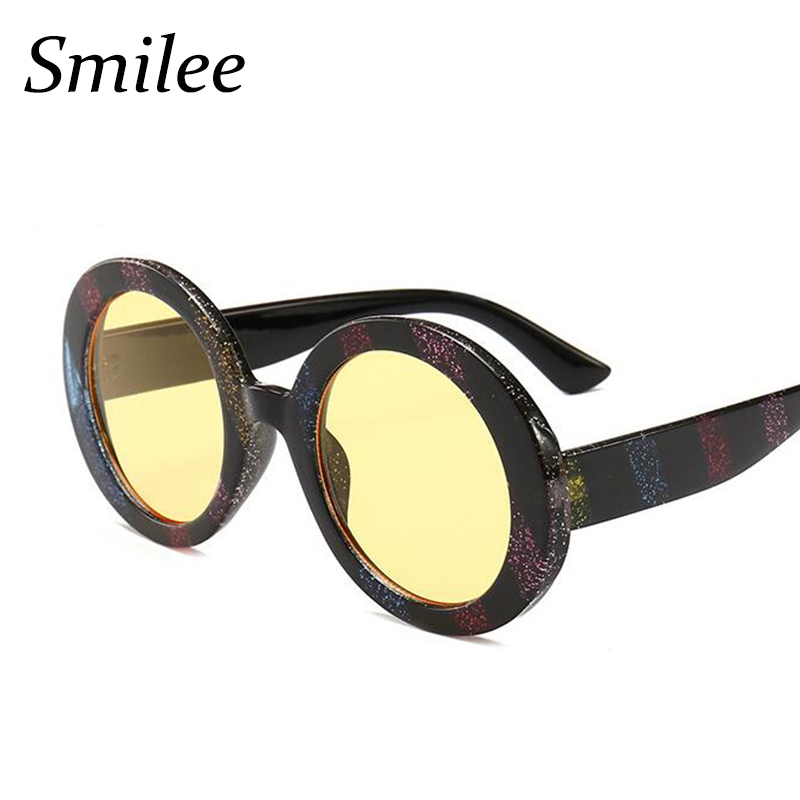 630ad3d0c6 New Fashion Women large Colorful Striped Round Glitter Sunglasses big oval  Style Trending Luxury Ladies Sunglasses yellow UV400-in Sunglasses from  Apparel ...