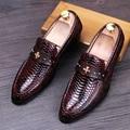 Vestidos del banquete de boda de lujo de los hombres de cocodrilo patrón de cuero de vaca transpirable zapatos slip-on pisos oxfords zapatos zapatos hombre masculino
