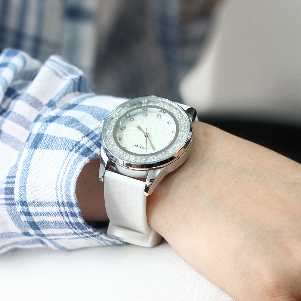SINOBI Ladies Fashion Wrist Quartz Watch White Silicone Strap Kvinder - Dameure - Foto 5