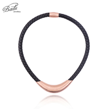 Badu Black Leather Punk Necklace Chokers Rose Gold Brushed Stainless Steel Necklaces Women 2017 New Arrival Hot Fashion