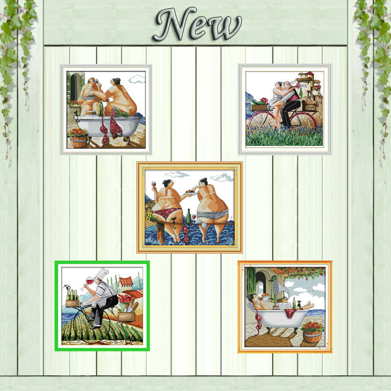 Enjoy life lovers beach decor painting counted print on canvas DMC 11CT 14CT chinese Cross Stitch kits embroidery needlework Set