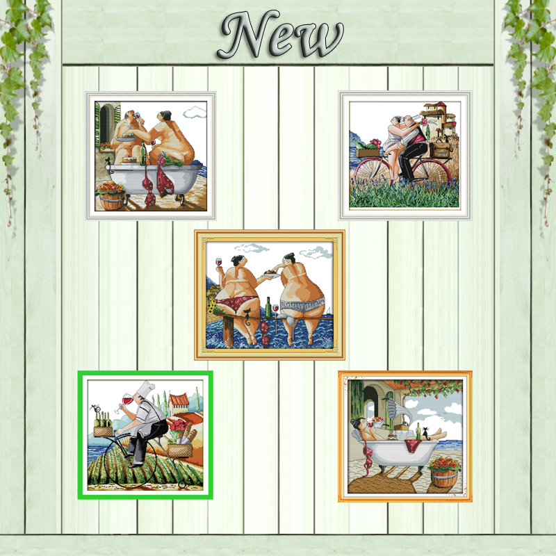 Enjoy <font><b>life</b></font> lovers beach decor painting counted print on canvas DMC 11CT 14CT chinese Cross Stitch kits embroidery needlework Set