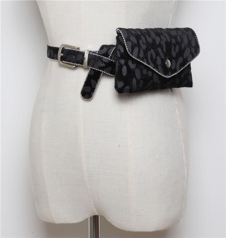 leopardo saco de cintura moda rebites cinto